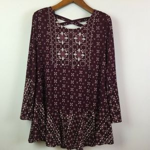 Style & Co Large Purple Floral Print Top 3W45